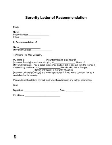 sorority request letter