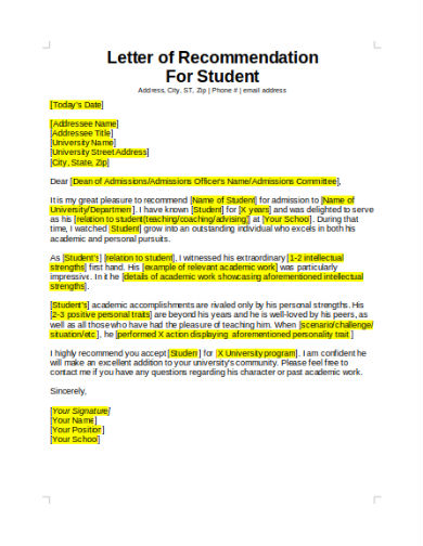 student recommendation letter