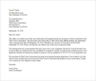 1 week's notice resignation letter template1