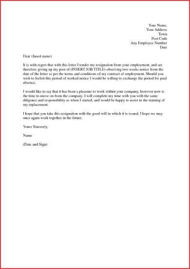 3 week's notice resignation letter sample