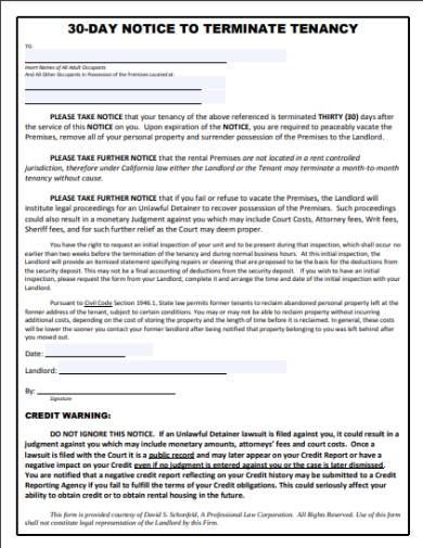 30 day eviction notice and tenancy termination form