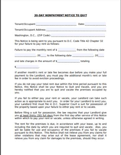 30 day non payment eviction notice form