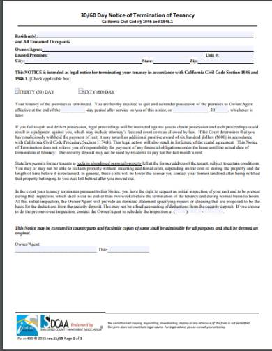 30 day notice tenancy termination and eviction form