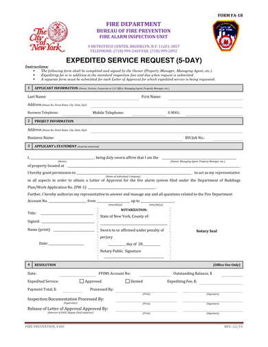 5 day expedite service request form