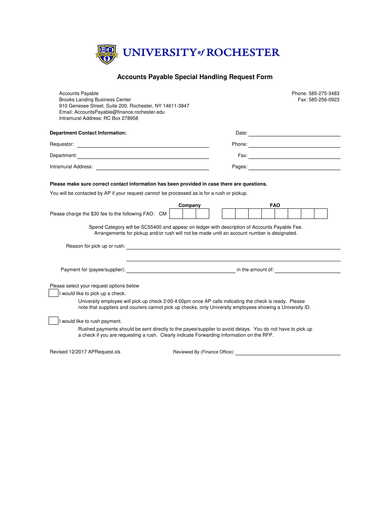 accounts payable special handling request form
