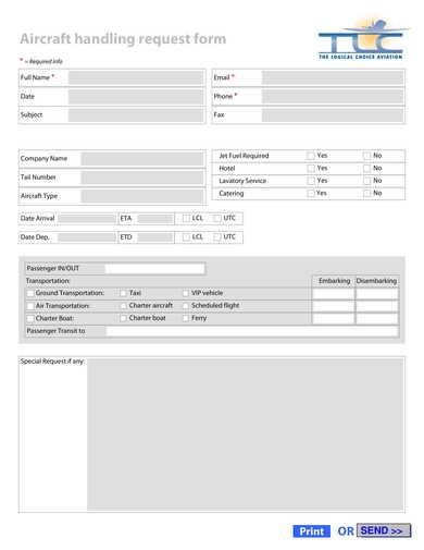 aircraft handling request form