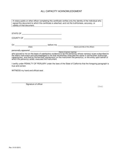 all capacity notary acknowledgment form