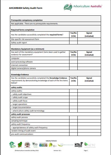arborist safety audit report form