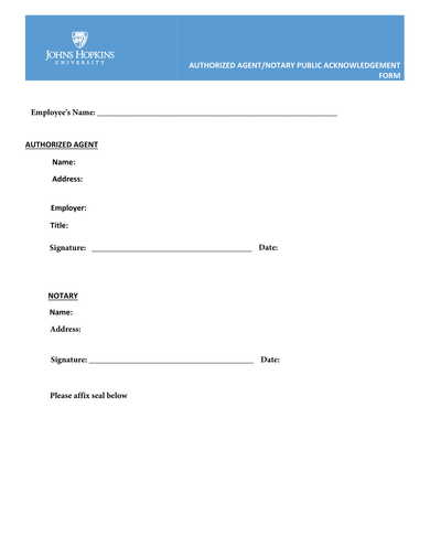authorized agent notary public acknowledgment form