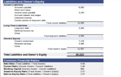 balance sheet form sample