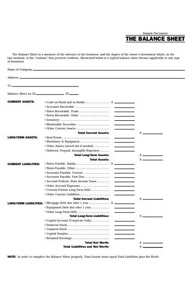 balance sheet short form