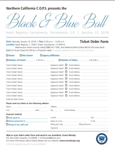 ball tickets and tables order form