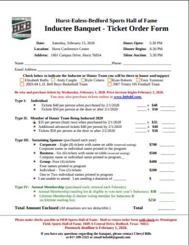 banquet tickets and tables order form