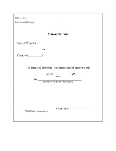 basic notary acknowledgment form