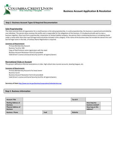 business account application and resolution form