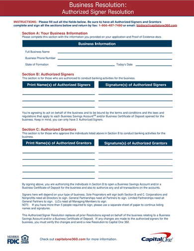 business authorized signer resolution form