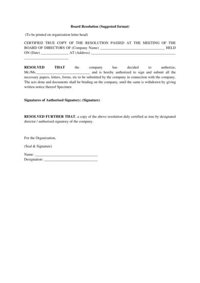 business board resolution form