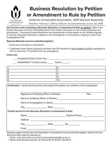 business resolution by petition form