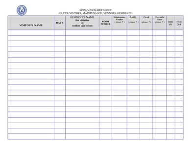campus residence visitor sign in out sheet