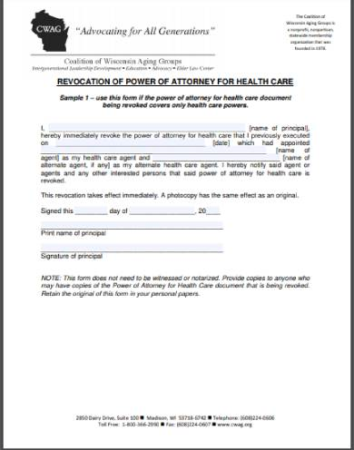 cancellation or revocation of medical power of attorney form