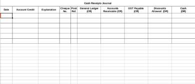 cash receipts journal form template