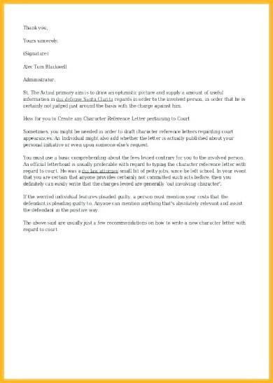 child custody character reference letter