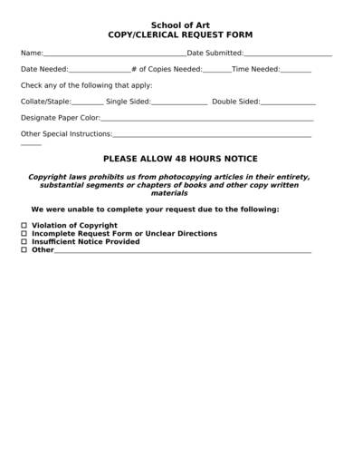 copy clerical request form