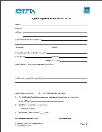 corporate audit report form