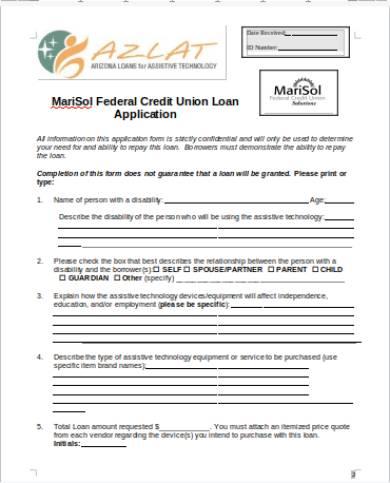 credit union loan application form