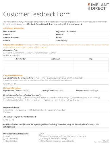 customer feedback form rev