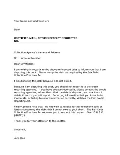 debt collection agency dispute letter