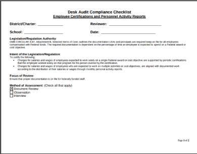 desk audit sample compliance checklist form