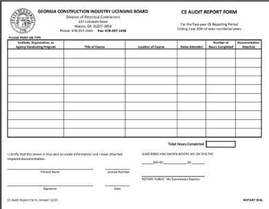 education audit report form