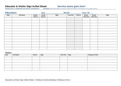 educator visitor sign in out sheet