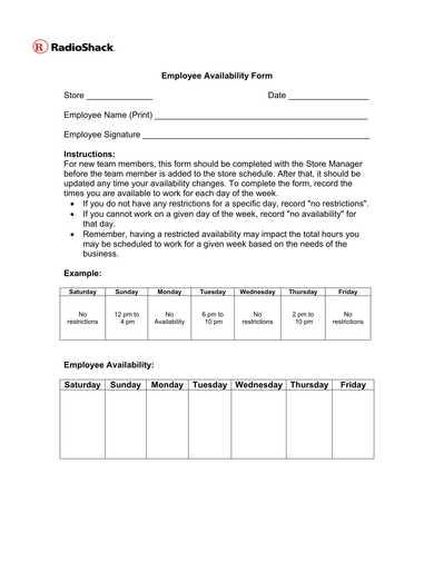 employee availability form sample