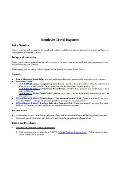 employee right travel expense