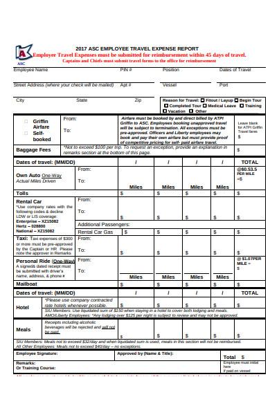 employee travel expense report