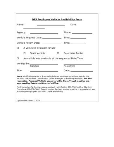 employee vehicle availability form