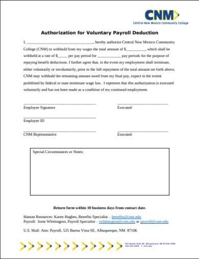 employee voluntary deduction agreement form