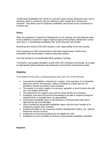 employeee guaranteed availability pay policy form