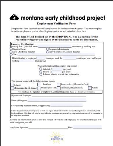 employment verification form for housing application