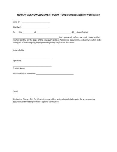 employment verification notary acknowledgment form