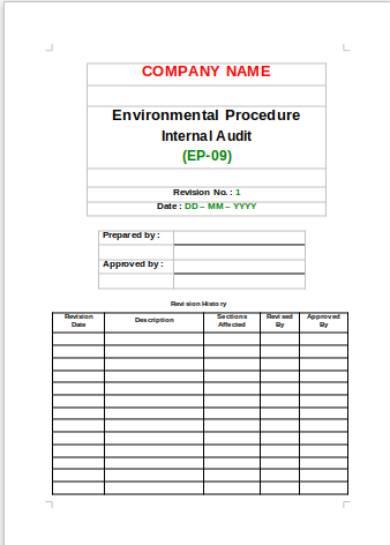 environmental procedure internal audit