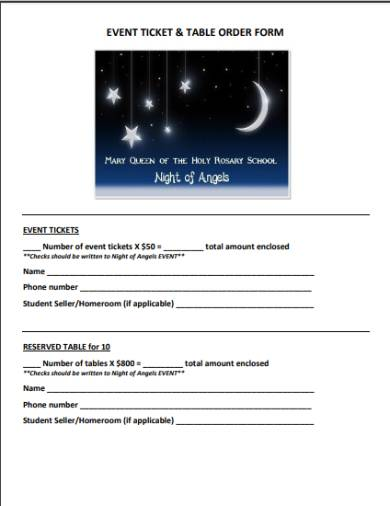 event tickets and tables order form