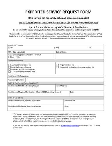 expedited service request form