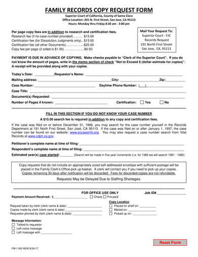 family records copy request form