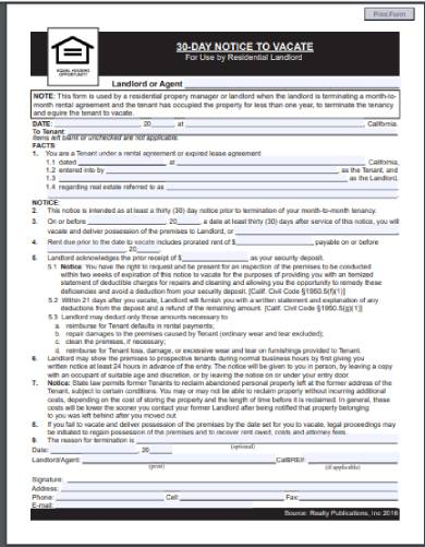 fillable 30 day eviction notice form