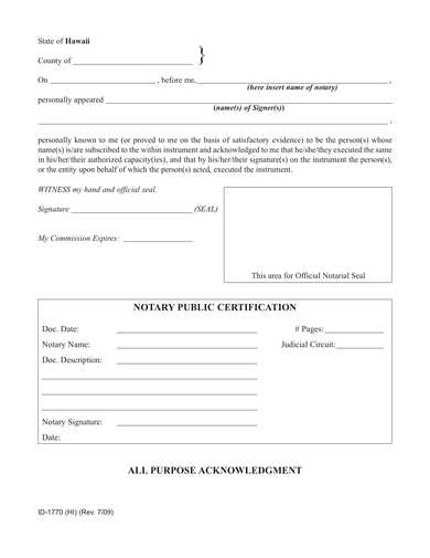 fillable notary acknowledgment form