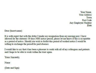formal nursing resignation letter