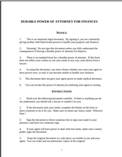 general durable power of attorney for finances